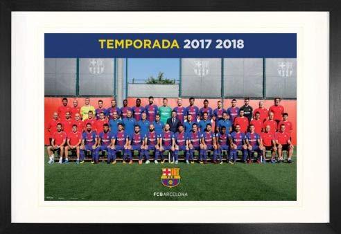 1art1 Fútbol FC Barcelona 2017/2018, Plantilla, Piqué, Messi, Suárez Póster (91 x 61cm) con Marco MDF (120 x 80cm)