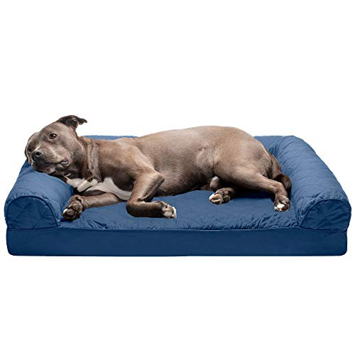 Furhaven Pet Dog Bed - Orthopedic Quilted Traditional Sofa-Style Living Room Couch Pet Bed with Removable Cover for Dogs and Cats, Navy, Large