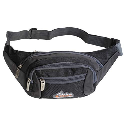 Bag Street - Gürteltasche Hüfttasche Bauchtasche Geldgürtel Reisetasche Kameratasche aus Nylon - präsentiert von ZMOKA® in versch. Farben (Schwarz)
