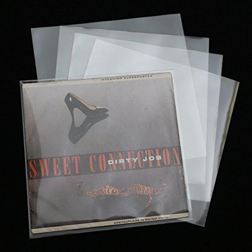 50 Stück XL 195x195 mm Single Cover Schallplatten Schutzhüllen 100 mµ Glasklar hochtransparent