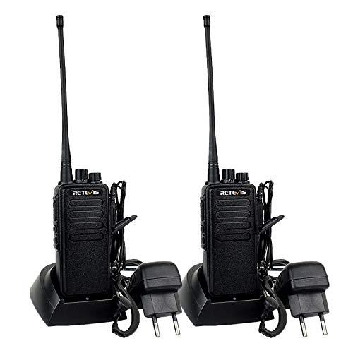 Retevis RT1 Walkie Talkie a Lungo Raggio, 10 Km Radio a Lunga Distanza con Auricolare, Radio Portatile con 3000mAh 1750Hz, Walky Talky Professionale per Sicurezza, Cantiere (Nero, 2 Pezzi)