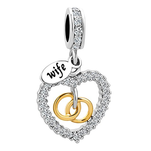 Korliya Heart Love Couple Rings Wife Charm with White Crystal Dangle Bead for Bracelet