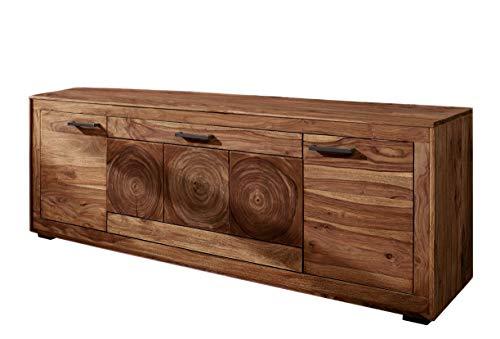 SAM Lowboard Nora III, Akazienholz massiv & nussbaumfarben, TV-Schrank mit 2 Holztüren & eine Klappe, Schwarze Griffe, 178 x 62,5 x 46 cm