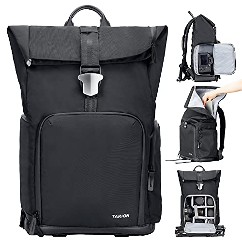 TARION TYB-L Sac à dos pour appareil photo Sac à dos de photographie étanche avec compartiment pour ordinateur portable et housse de pluie pour appareils photo reflex numériques