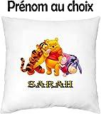 GRAVOPHOTO - Housse de Coussin Enfant personnalisée Winnie l'ourson 2' prénom au Choix