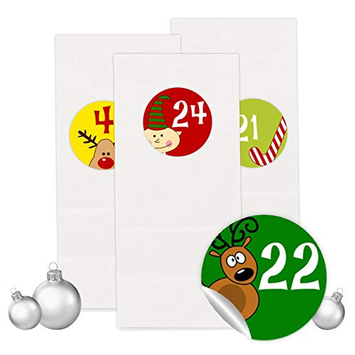 PaPIerDraCHeN Adventskalender Set - 24 Weiße Tüten mit 24 bunten Aufkleber Zahlen - zum Selbermachen - Adventskalender zum Befüllen - Mini Set 1 - von