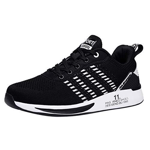 Deloito Damen Sneaker Leichte Modische Turnschuhe Fliegendes Weben Socken Sport Schuhe Schüler Freizeit Atmungsaktiv Laufschuhe (40 EU, Schwarz-07)