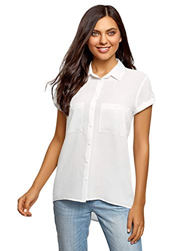 oodji Ultra Damen Viskose-Bluse mit Brusttaschen, Weiß, DE 38 / EU 40 / M