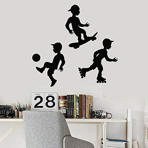 Calcomanías de pared fútbol patineta rodillo deportes niños dormitorio decoración del hogar vinilo ventana pegatinas jardín de infantes arte creativo mural