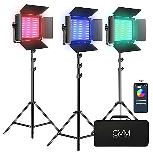 GVM RGB LED Video Light Kit, Dimmable Photography Lighting with APP Control, 680RS 50W 3 Packs Led...