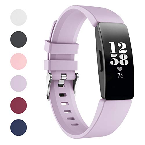 """HATALKIN Watch Bands Compatible with Fitbit Inspire Band & Inspire HR Bands Women Men Soft Silicone Sport Straps Wristbands Replacement for Inspire Fitness Tracker (Lilac, Large: 7.1"""" - 8.7"""") Features Fitness Sports Technology Wearable"""