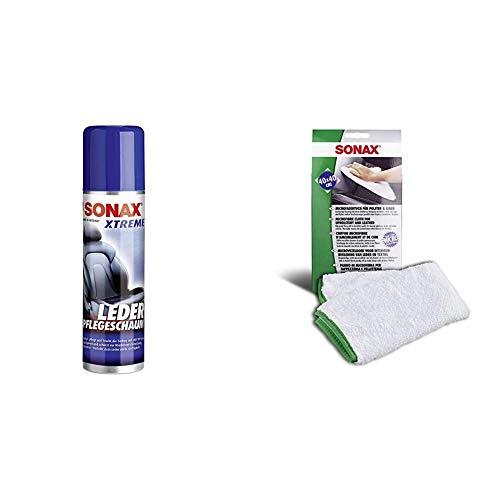 SONAX Xtreme LederPflegeSchaum (250 ml) silikonfreie Reinigung und Pflege für Glattleder & Microfasertuch für Polster, Textil und Leder zur fusselfreien Fahrzeuginnenreinigung (40x40 cm)