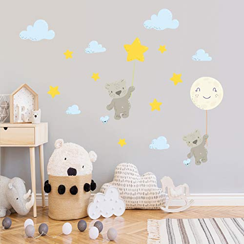 Creative Kids Wall Stickers Watercolor Nursery Wall Decals, VASZOLA Removable Peel and Stick Cartoon Animal Neutral Vinyl Wall Decoration for Baby Boy Girl Bedroom - Flying Bear (zsz2751)