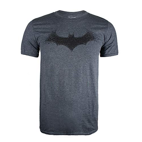 DC Comics Batman-Bat Logo Camiseta, Gris (Dark Heather Dkh
