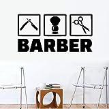 Peluquería pegatinas de pared tijeras de peluquero herramientas arte decoración de la pared pegatinas peluquero peinado pegatinas de pared mural A8 57x29 cm