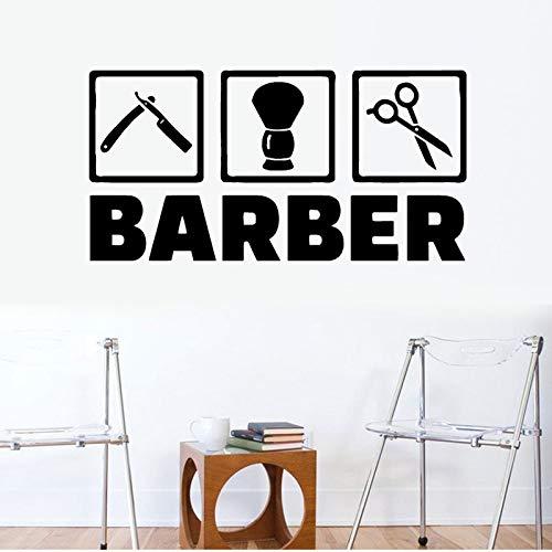 Peluquería pegatinas de pared tijeras de peluquero herramientas arte decoración de la pared pegatinas peluquero peinado pegatinas de pared mural A3 57x29cm