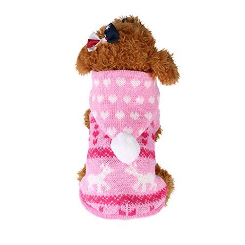 Weihnachten Haustier Hundepullover,Haustier Hündchen Katzen Warmer Mantel Knit Hunde Hoodie Strick Jacke,Haustier Hund Katze Sweater Winter warme Pullover Mantel für kleine Hunde (Rosa, M)