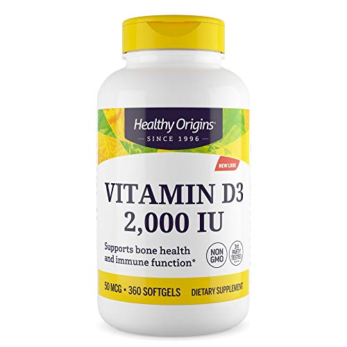 Healthy Origins Vitamin D3 2000iu 360 Softgels (Full Year Supply)| High Absorption Cholecalciferol Vitamin D One a Day Supplement| Vitamin D3 softgels Easier to Swallow Than Vitamin D Tablets | Immune Support | Bone Support