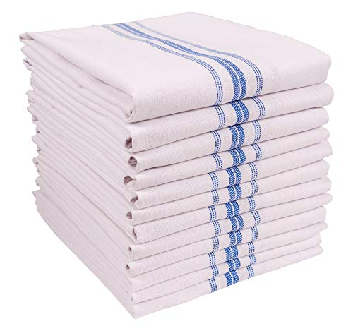 KAF Home Classic Farmhouse Stripe Kitchen Towels | Set of 12, 15' x 25', 100% Pure Cotton Dish Towels | Perfect Bar Towel Dish Cloths for Cooking, Cleaning, and Dining (Blue)