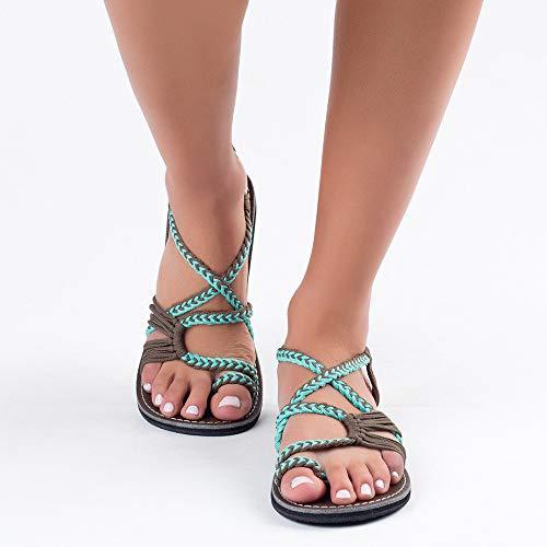 XQYPYL Sandalen Damen Frauen Flip Flops Kreuzband Geflochtene Sandalen Roman Schuhe Sommer Woven Strap Strand Hausschuhe Flacher Anti-Rutsch,05,38