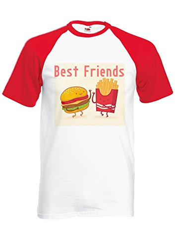 Best Friends Burger Chips Fries Novelty Red/White Men Women Unisex Shirt Sleeve Baseball T Shirt-M