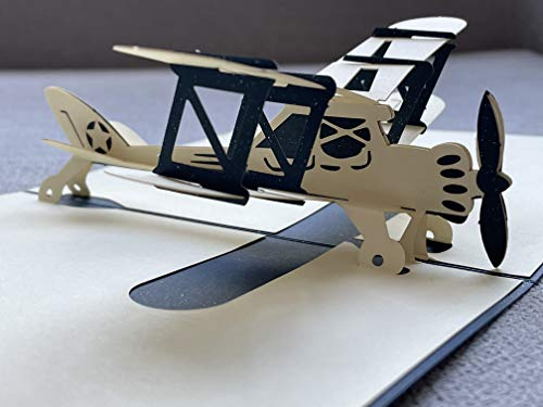 Airplane Pop Up Cards 3D Greeting Card,Handmade 3D Plane Pop Up Cards,Thank You Card,Aircraft Plane Card for Birthday Party Graduation Celebration All Occasions