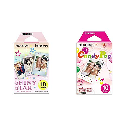 Fujifilm 16404193 -  Colorfilm instax Mini Star WW 1,  película fotográfica instantánea (10 Hojas per Pack),  Estrellas + m Instax Mini Candy Pop -  Película instantánea