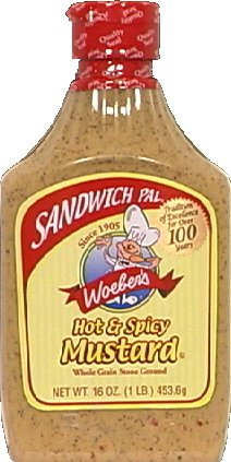 Woeber's Sandwich Pal Hot and Spicy Mustard 16oz (Pack of 2)