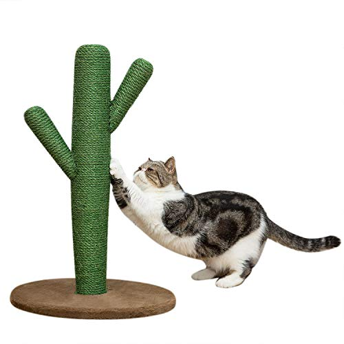 Yangbaga Cat Scratching Post, Cat Activity Tree with Catnip and Covered with Sisal Rope for Cat Scratching, 22.4in Cat Tower and Bed for Adult Cats