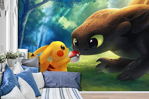 "AJ WALLPAPER 3D Murals for Pokemon Pikachu 687 Japan Anime Tapeten Drucken Spiel Karikatur Wandgemälde Selbstklebend Tapete MXY DE Maze (gewebt Papier (Notwendigkeit Leim), 【 82""x58""】 208x146cm(BxH))"