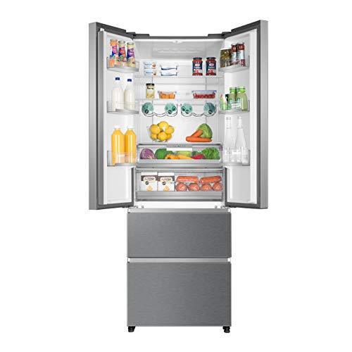 Haier HB20FAAA Freestanding American Fridge Freezer, 454L Total Capacity, 70cm wide, Stainless Steel Effect