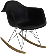 Modway Rocker Mid-Century Modern Molded Plastic Living Room Lounge Chair Rocker in Black