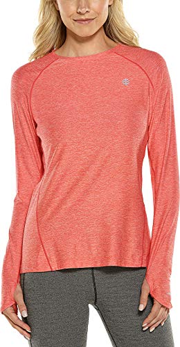 Coolibar UPF 50+ Women's Devi Long Sleeve Fitness T-Shirt - Sun Protective (Small- Sunburst Heather)
