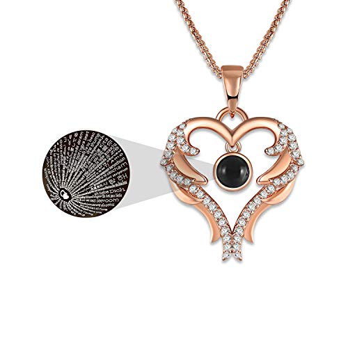 GEORGE · SMITH Rose Gold Heart Pendant Necklace for Women 100 Languages I Love You Necklace Christmas Necklace Gifts for Women Girls