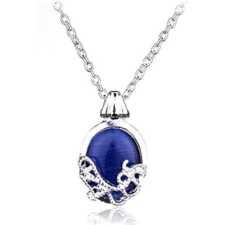 Beaux Bijoux - The Vampire Diaries Katherine mujeres chapados en plata Collar de joyas con piedras naturales Anti Sol Colgante Amuleto