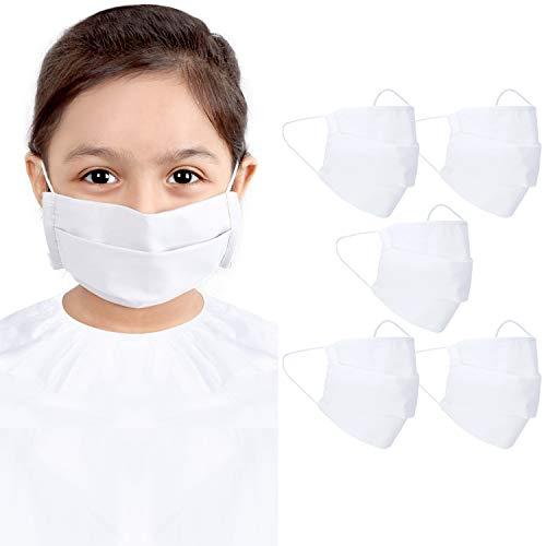 CRAFTSWORTH Wiederverwendbare Gesichtsmaske aus Baumwolle|3-lagige Sicherheitsmaske mit elastischer Ohrschlaufe|Snug Fit, waschbar, atmungsaktiv & bequemer Mundschutz für Kinder|15x15cm Weiß 5Pack