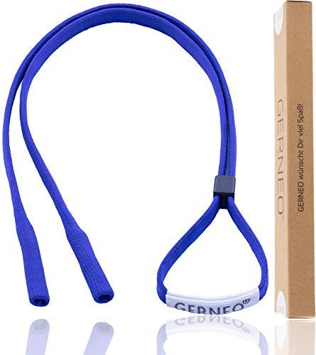 GERNEO® - DAS ORIGINAL - Premium Sportbrillenband & Brillenband Sport für Sportbrillen, Sonnenbrillen, Lesebrillen, Skibrillen – in diversen Farben – wasserfest (Königsblau)
