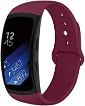 OenFoto Sports Band Compatible Gear Fit2 Pro/ Fit2, Replacement Silicone Accessories Strap Samsung Gear Fit2 Pro SM-R365/ Gear Fit2 SM-R360 Smartwatch-Wine Red