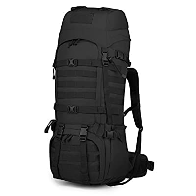Mardingtop 65L Molle Hiking Internal Frame Backpacks with Rain Cover Black-65L