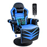 Video Gaming Chair Racing Style Massage Gaming Recliner Game Chair Ergonomic Office Chair with Cupholder, Headrest, Lumbar Support, Adjustable Backrest,Seat Height and Footrest Swivel ,Blue