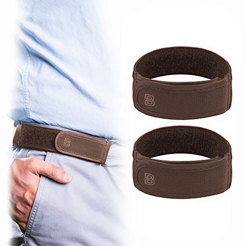 BeltBro Titan Brown 2-Small No Buckle Elastic Belt For Men — Fits 1.5 Inch Belt Loops, Comfortable and Easy To Use