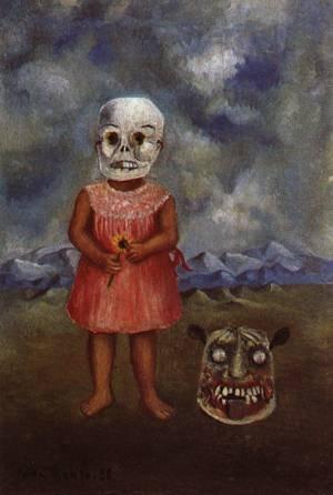 Hecho a mano de pintura al óleo de pintura GFM reproducciones de niña con máscara mortuoria 11938, pintura al óleo de Frida Kahlo, lona, 72 By 96 inches