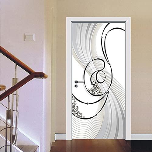 Pegatinas de Puerta en 3D 90x200cm DIY Autoadhesivo Puertas Mural Etiqueta Papel Tapiz para el Dormitorio Sala de Baño Cocina Calcomanía de la Puerta Pared - Nota Musical