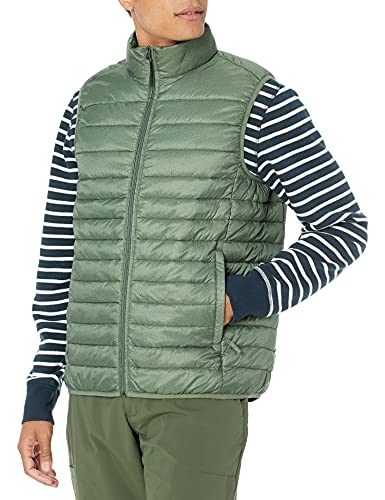 Amazon Essentials - Chaleco acolchado, ligero, resistente al agua y plegable para hombre, Verde (Olive Heather), US XXL (EU XXXL - 4XL)