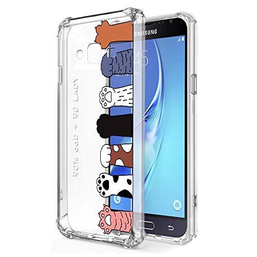 Zhuofan Plus Cover Samsung Galaxy J3 2016, Custodia Clear Silicone Soft Transparent Tpu Gel con Design Airbag Print Pattern Antigraffio Antiurto Protactive Cover per Samsung Galaxy J3 2016, Cat Claw