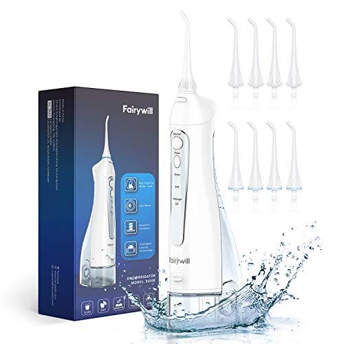 Munddusche Elektrisch für Zahnreiniger, Fairywill Mundduschen Kabellos 300ML Wasser Flosser mit 3 Modi und 8 Düsen, 4 Stunden USB-Aufladung mindestens 21 Tage Nutzen, IPX7 Wasserdicht,Kristallweiß