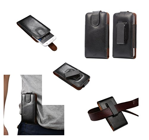 DFV mobile - Magnetic Genuine Leather Holster Executive Case Belt Clip Rotary 360º for DOOGEE Turbo DG2014 - Black