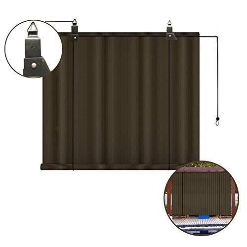 PENGFEI Estor Enrollable, Pantalla De Privacidad para Terraza Cubierta Porche Pérgola Gazebo Balcón, Bloque 90% UV, Tamaño Personalizado (Color : Brown, Size : 100x180CM)