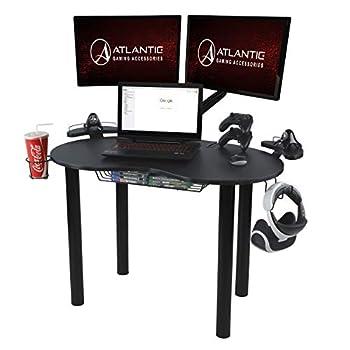 Atlantic Gaming Original Gaming Desk - Eclipse Space Saver Controller & Headphone Storage Speaker Shelves Carbon Fiber Desktop