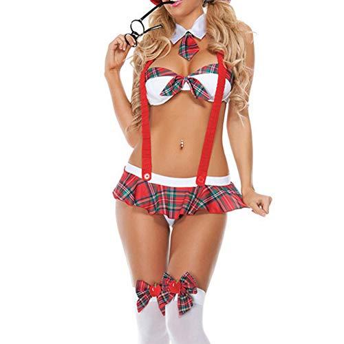ZZLBUF sexy Schulmädchen Student Strap Uniformen Kleidung Sex Dessous Halloween Rollenspiel Kostüme (Red, ONE Size)